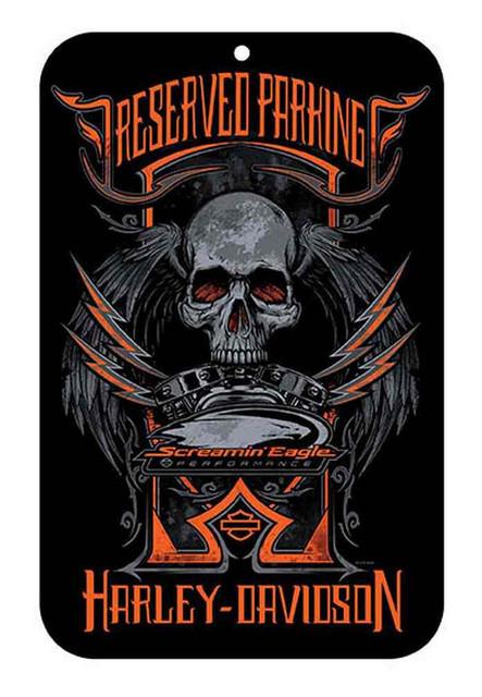 Harley-Davidson Screamin' Eagle Skull Plastic Parking Sign, 17 x 11in HARLNV0101 - Wisconsin Harley-Davidson