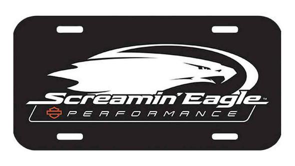 Harley-Davidson Screamin' Eagle Logo License Plate, 6 x 12 inch Black HARLNV0097 - Wisconsin Harley-Davidson
