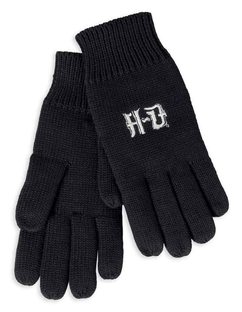 Harley-Davidson Women's Metallic Embroidered Knit Gloves, Black 97786-17VW - Wisconsin Harley-Davidson