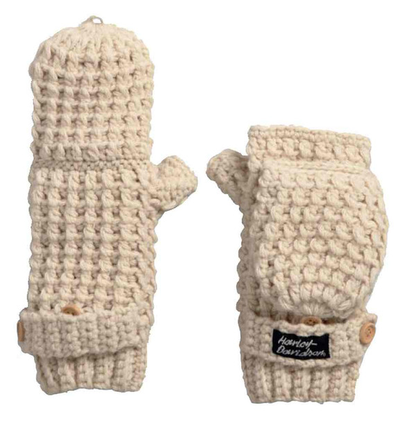Harley-Davidson Women's Fingerless Flip-Top Knit Gloves, Birch 97787-17VW - Wisconsin Harley-Davidson