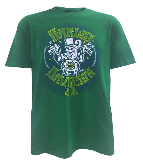 Harley-Davidson Men's Endless Road Skull Short Sleeve T-Shirt, Green 5504-HB5R - Wisconsin Harley-Davidson