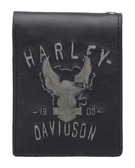 Harley-Davidson Men's Embossed Shadow Eagle Bi-Fold Leather Wallet 97634-17VM - Wisconsin Harley-Davidson