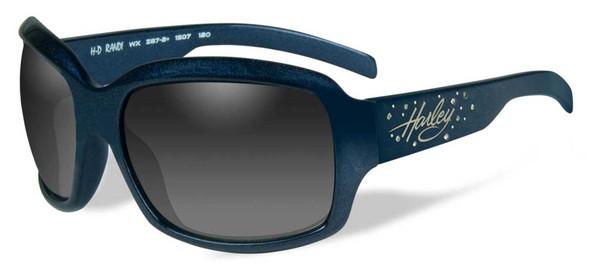 Harley-Davidson Womens Rhinestone Randi Sunglasses, Gray Lens/Blue Frame HRRND21 - Wisconsin Harley-Davidson