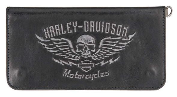Harley-Davidson Men's Guardian Trucker Genuine Leather Wallet HDMWA11238-BLK - Wisconsin Harley-Davidson