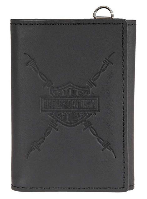 Harley-Davidson Men's Danger Zone Tri-Fold Genuine Leather Wallet HDMWA11213-BLK - Wisconsin Harley-Davidson