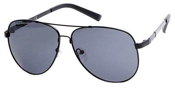 Harley-Davidson Men's Memory Metal Aviator Sunglasses, Black Frame & Smoke Lens - Wisconsin Harley-Davidson