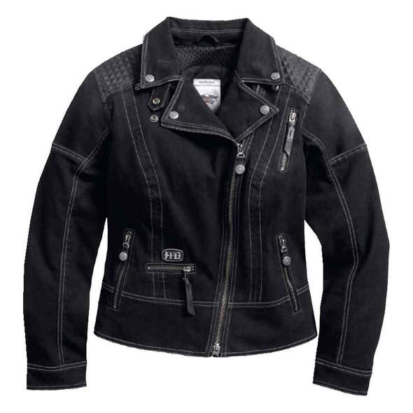 Harley-Davidson Women's Specter Coated Denim Riding Jacket, Black 97160-17VW - Wisconsin Harley-Davidson