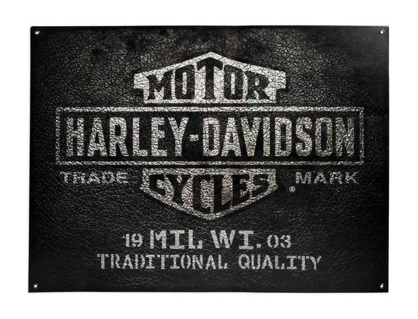 Harley-Davidson Bar & Shield Leather Texture Metal Sign, 23 x 31 inch 96826-17V - Wisconsin Harley-Davidson