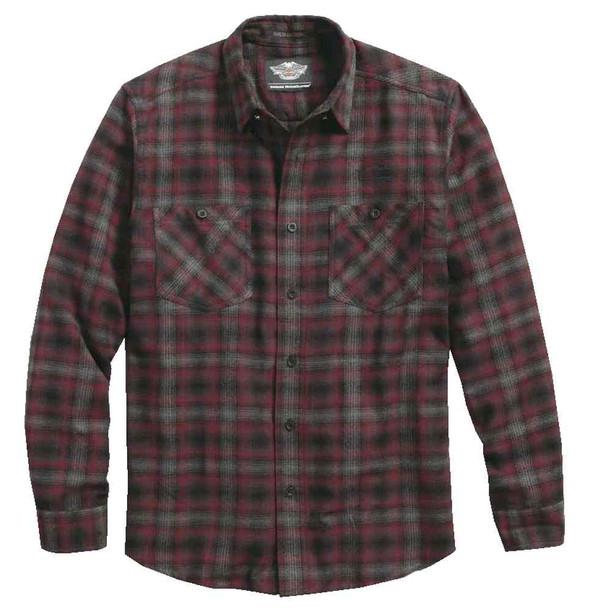 Harley-Davidson Men's Plaid Flannel Long Sleeve Woven Shirt, Red 96458-17VM - Wisconsin Harley-Davidson