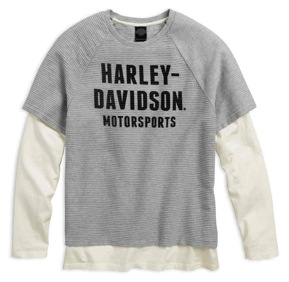 Harley-Davidson Men's Textured Stripe Layer Long Sleeve Shirt, Gray 96542-17VM - Wisconsin Harley-Davidson