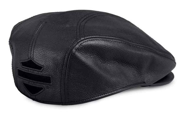 Harley-Davidson Men's Stylized B&S Logo Leather Ivy Cap, Black 97645-17VM - Wisconsin Harley-Davidson
