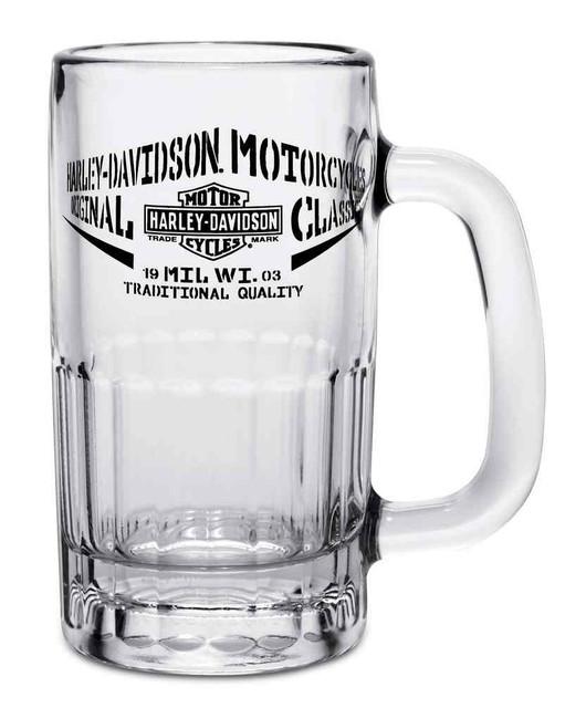 Harley-Davidson Bar & Shield H-D Script Beer Glass Mug, 12 oz. 96805-17V - Wisconsin Harley-Davidson