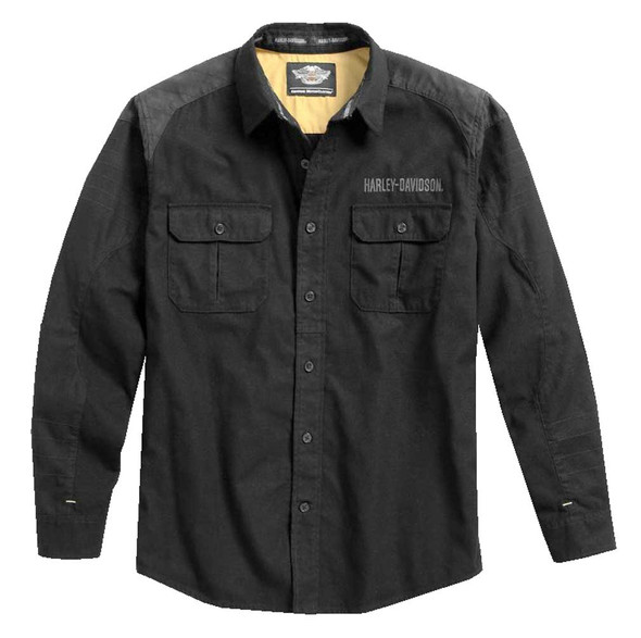 Harley-Davidson Men's Brushed Twill Long Sleeve Woven Shirt, Black 96457-17VM - Wisconsin Harley-Davidson