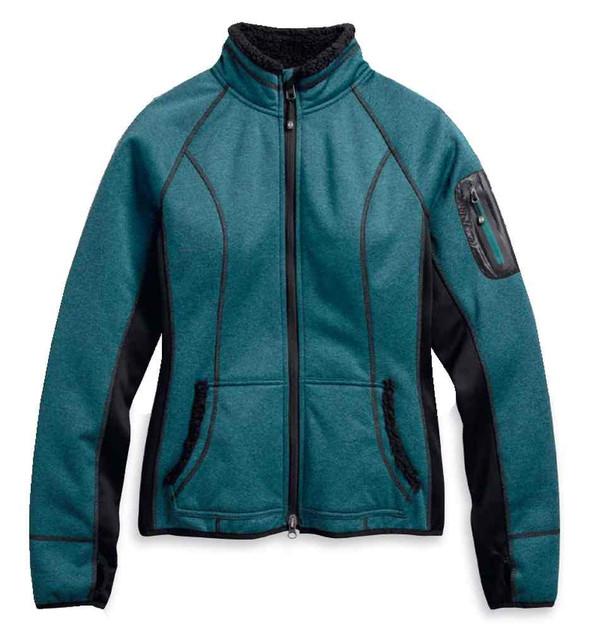 Harley-Davidson Women's Province Fleece Mid-Layer Jacket, Teal 97596-17VW - Wisconsin Harley-Davidson