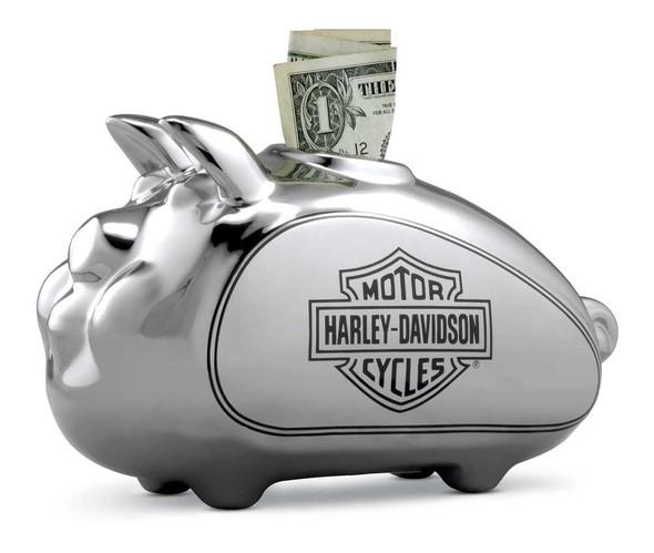 Harley-Davidson Bar & Shield HOG Piggy Bank, Chrome-Plated Finish 96827-17V - Wisconsin Harley-Davidson