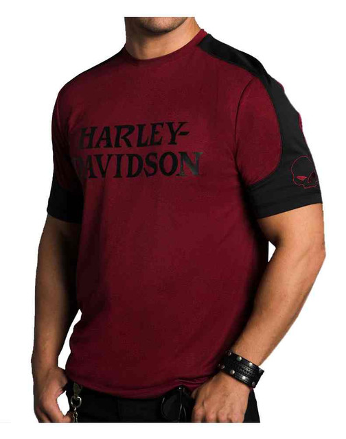 Harley-Davidson Men's Performance Wild Side Premium SS Shirt, Merlot H27U-HC54 - Wisconsin Harley-Davidson