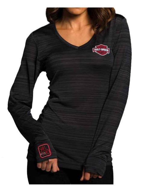 Harley-Davidson Women's Performance Ride All Day Premium Shirt, Black HU08-HC4X - Wisconsin Harley-Davidson