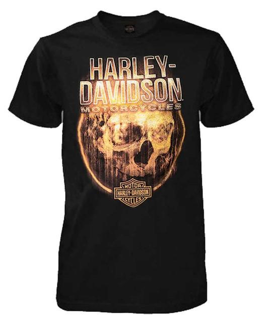 Harley-Davidson Men's Circle Of Fire Skull Short Sleeve T-Shirt, Solid Black - Wisconsin Harley-Davidson