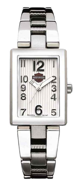 Harley-Davidson Women's Curved Dial Stainless Steel Watch, Silver 76L147 - Wisconsin Harley-Davidson