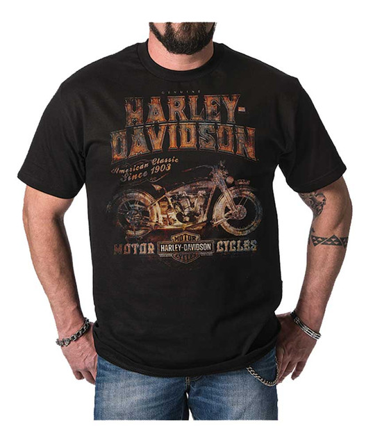 Harley-Davidson Men's Distressed Classic Dealer Short Sleeve T-Shirt, Black - Wisconsin Harley-Davidson