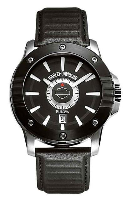 Harley-Davidson Men's Bar & Shield Logo Watch, Black Leather Strap 78B116 - Wisconsin Harley-Davidson