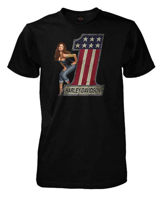 Harley-Davidson Men's #1 Logo Pinup Lady Short Sleeve T-Shirt, Solid Black - Wisconsin Harley-Davidson
