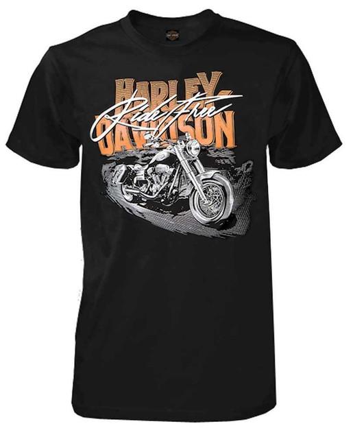 Harley-Davidson Men's Ride Free H-D Script Short Sleeve T-Shirt, Solid Black - Wisconsin Harley-Davidson
