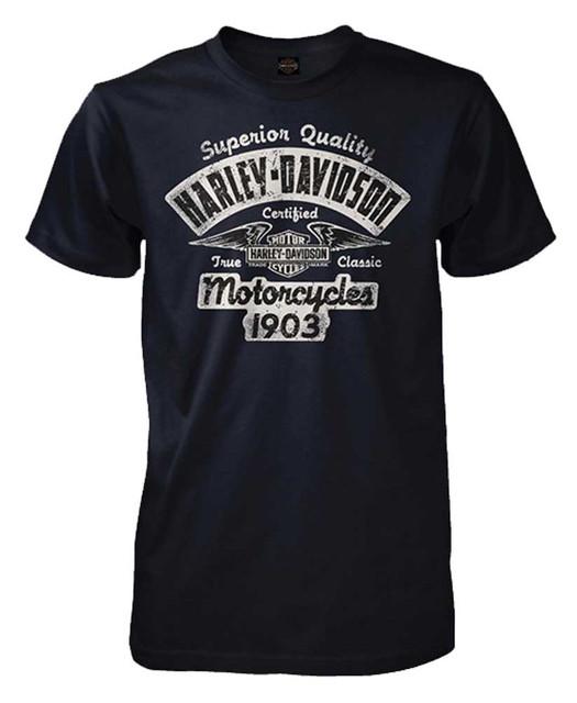 Harley-Davidson Men's Certified Distressed Graphic Short Sleeve T-Shirt, Navy - Wisconsin Harley-Davidson