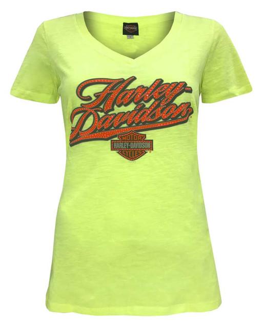 Harley-Davidson Women's Embellished Neon Script Short Sleeve Tee, Neon Yellow - Wisconsin Harley-Davidson