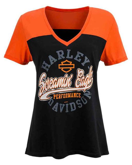 Harley-Davidson Women's Screamin' Eagle Circle Script Raglan Tee HARLLT0201 - Wisconsin Harley-Davidson