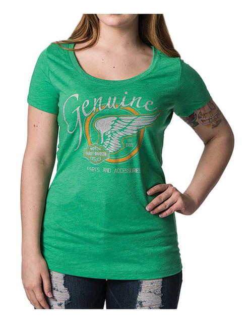 Harley-Davidson Women's Fly Free Metallic Ink Short Sleeve Tee, Envy Green - Wisconsin Harley-Davidson