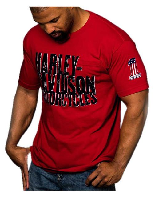 Harley-Davidson Men's Prowler H-D Script Chest Pocket Short Sleeve T-Shirt, Red - Wisconsin Harley-Davidson
