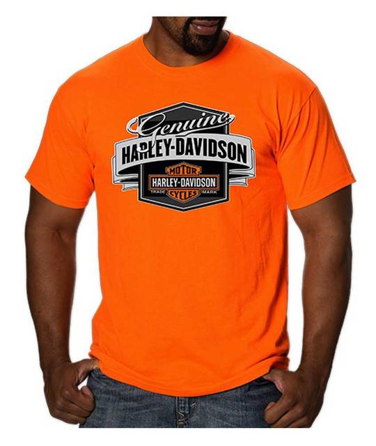 Harley-Davidson Men's Genuine Label B&S Short Sleeve T-Shirt, Safety Orange - Wisconsin Harley-Davidson