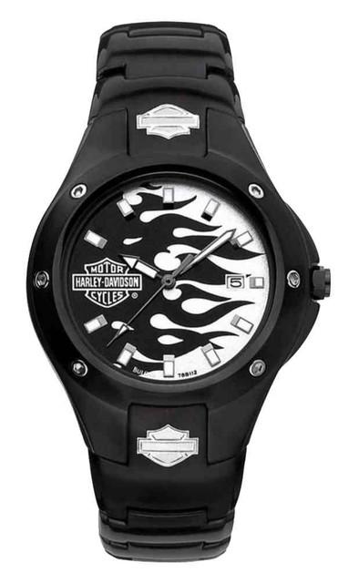 Harley-Davidson Men's Flames Bar & Shield Stainless Steel Watch, Black 78B112 - Wisconsin Harley-Davidson