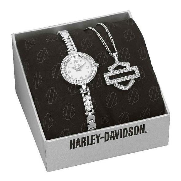 Harley-Davidson Women's Crystal Stainless Steel Watch w/ B&S Pendant 76X100 - Wisconsin Harley-Davidson