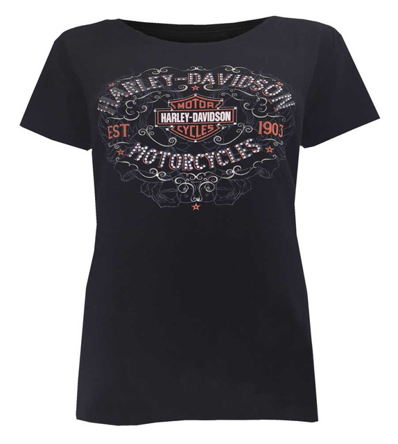Harley-Davidson Women's Shimmer Rhinestone Embellished Short Sleeve Tee, Black - Wisconsin Harley-Davidson