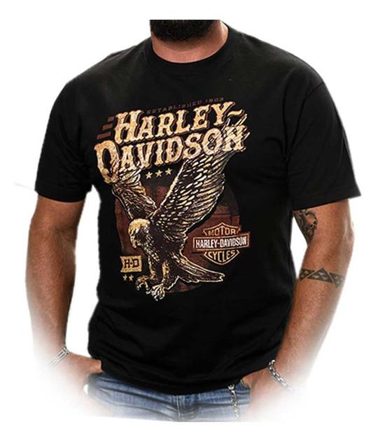 Harley-Davidson Men's Landed Up-Wing Eagle Short Sleeve T-Shirt, Solid Black - Wisconsin Harley-Davidson