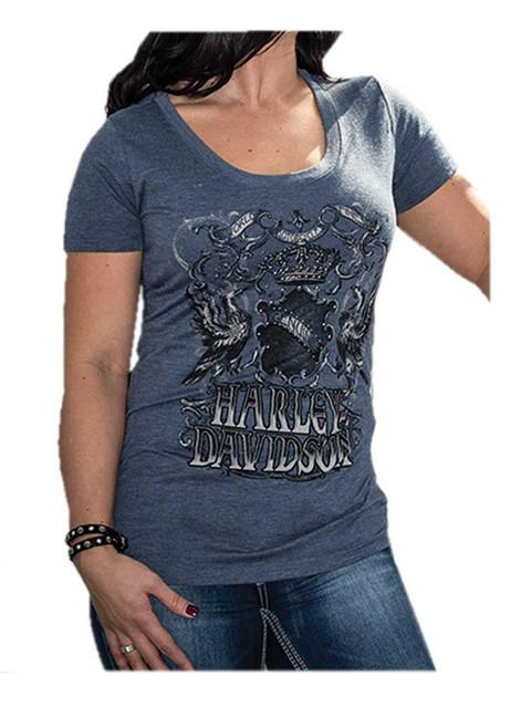 Harley-Davidson Women's Monarchy Embellished Short Sleeve Tee, Midnight Heather - Wisconsin Harley-Davidson