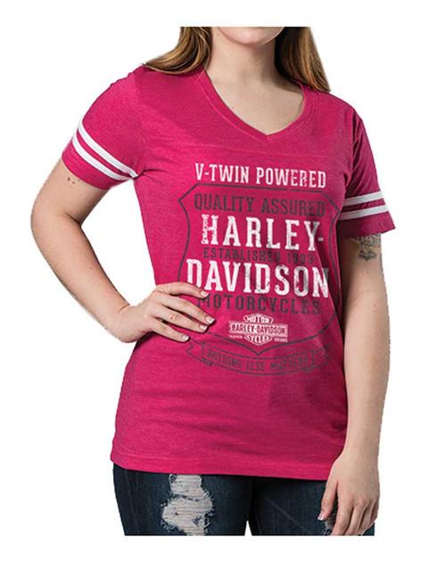 Harley-Davidson Women's Nothing Else Matters Striped Short Sleeve Tee, Hot Pink - Wisconsin Harley-Davidson