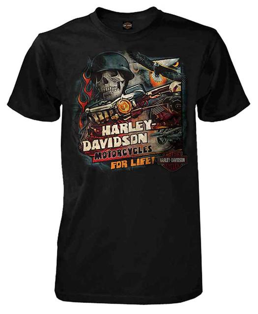 Harley-Davidson Men's Vintage For Life Skull Short Sleeve T-Shirt, Black - Wisconsin Harley-Davidson