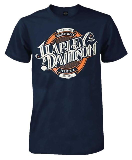 Harley-Davidson Men's Beer Label H-D Script Short Sleeve T-Shirt, Navy Blue - Wisconsin Harley-Davidson