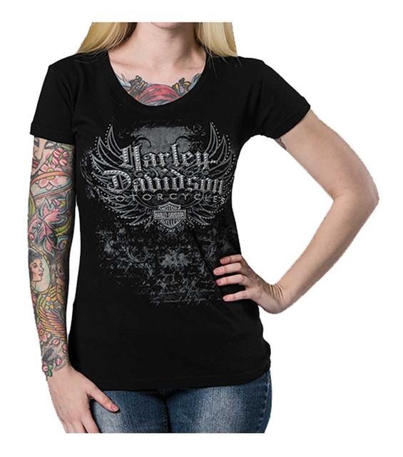 Harley-Davidson Women's Road Angel Embellished Short Sleeve Tee, Black - Wisconsin Harley-Davidson