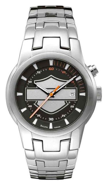 Harley-Davidson Men's Bar & Shield Stainless Steel Watch, Silver Finish 76B039 - Wisconsin Harley-Davidson