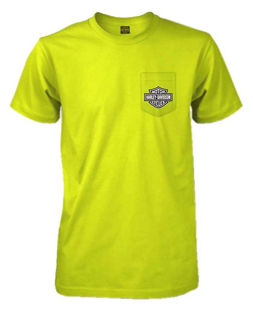 Harley-Davidson Men's Standard Bar & Shield Short Sleeve T-Shirt, Safety Green - Wisconsin Harley-Davidson