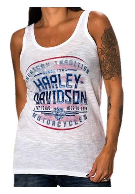 Harley-Davidson Women's American Tradition Burnout Sleeveless Tank Top, White - Wisconsin Harley-Davidson