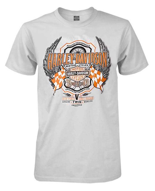 Harley-Davidson Men's Smooth Advantage Racing Short Sleeve T-Shirt, Silver - Wisconsin Harley-Davidson
