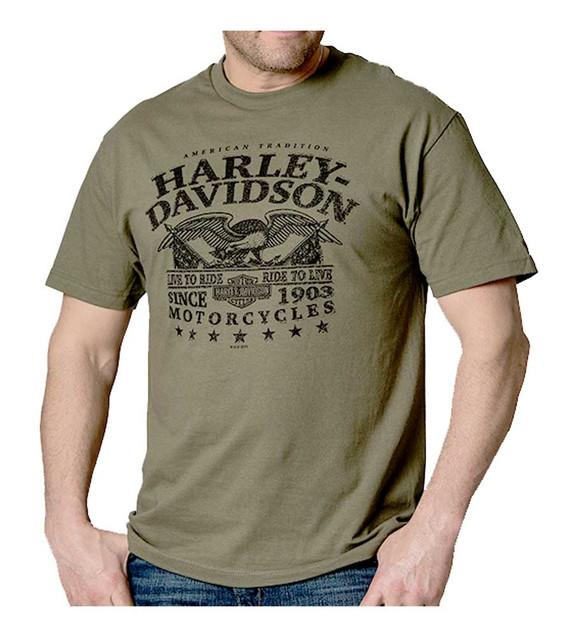 Harley-Davidson Mens Eagle Military Inspired Short Sleeve T-Shirt, Fatigue Green - Wisconsin Harley-Davidson