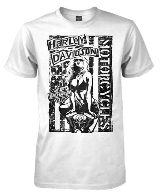 Harley-Davidson Men's Distressed Punk Rock Poster Short Sleeve T-Shirt, White - Wisconsin Harley-Davidson