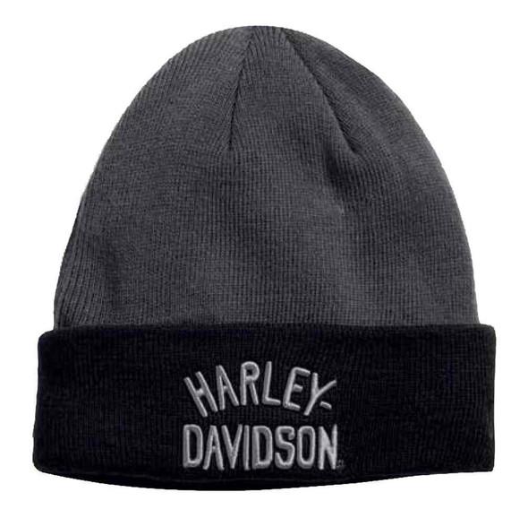Harley-Davidson Men's Colorblocked H-D Cuff Knit Beanie Hat, Gray 97651-17VM - Wisconsin Harley-Davidson