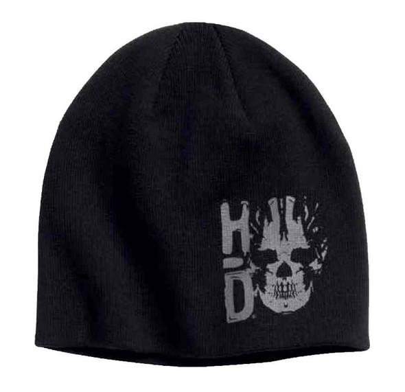 Harley-Davidson Men's H-D Skull Graphic Knit Beanie Hat, Black 97650-17VM - Wisconsin Harley-Davidson